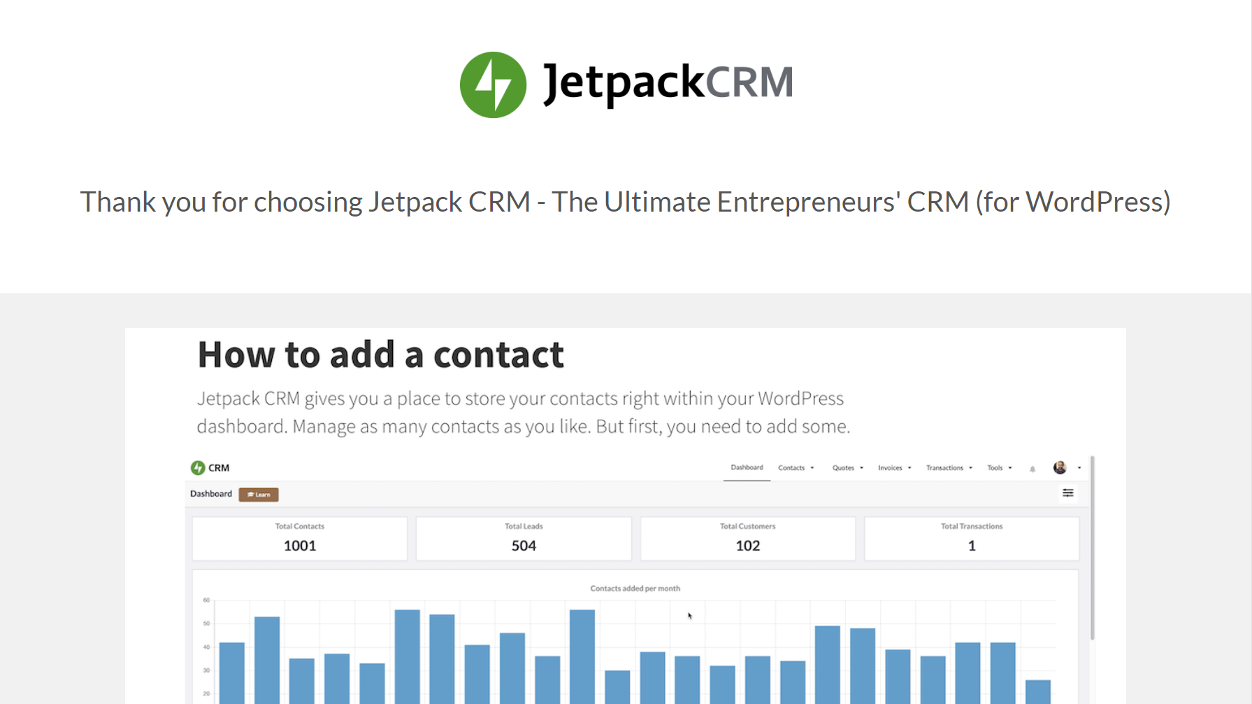 Screenshot of the Jetpack CRM welcome screen.