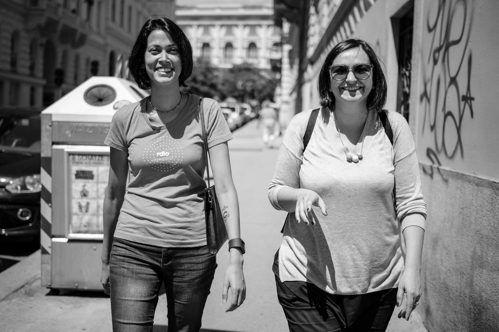 Josepha Haden and Francesca Marano walking around Vienna