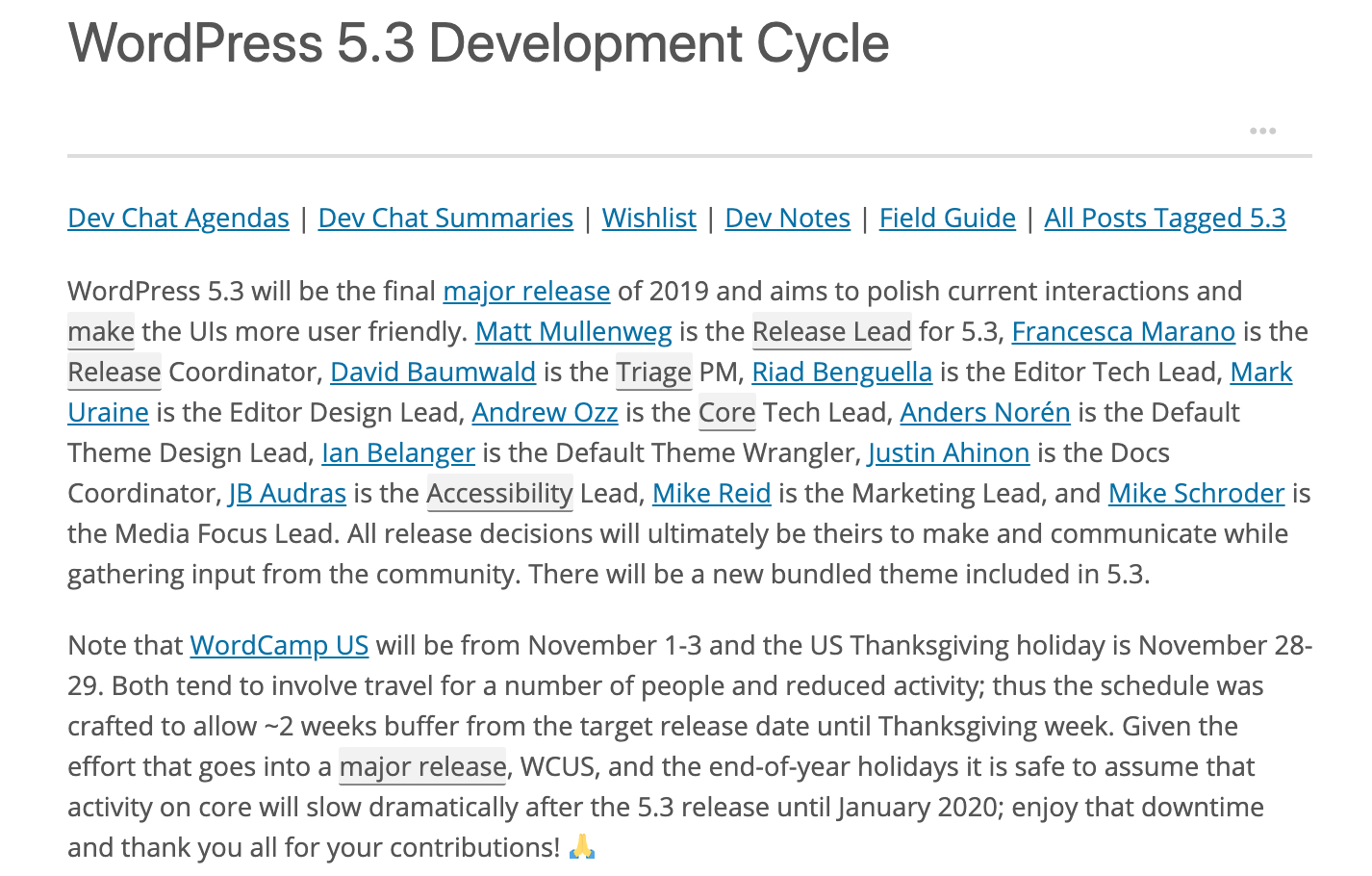 Screenshot of the WordPress 5.3 Development Cycle Page with the names of the squad
