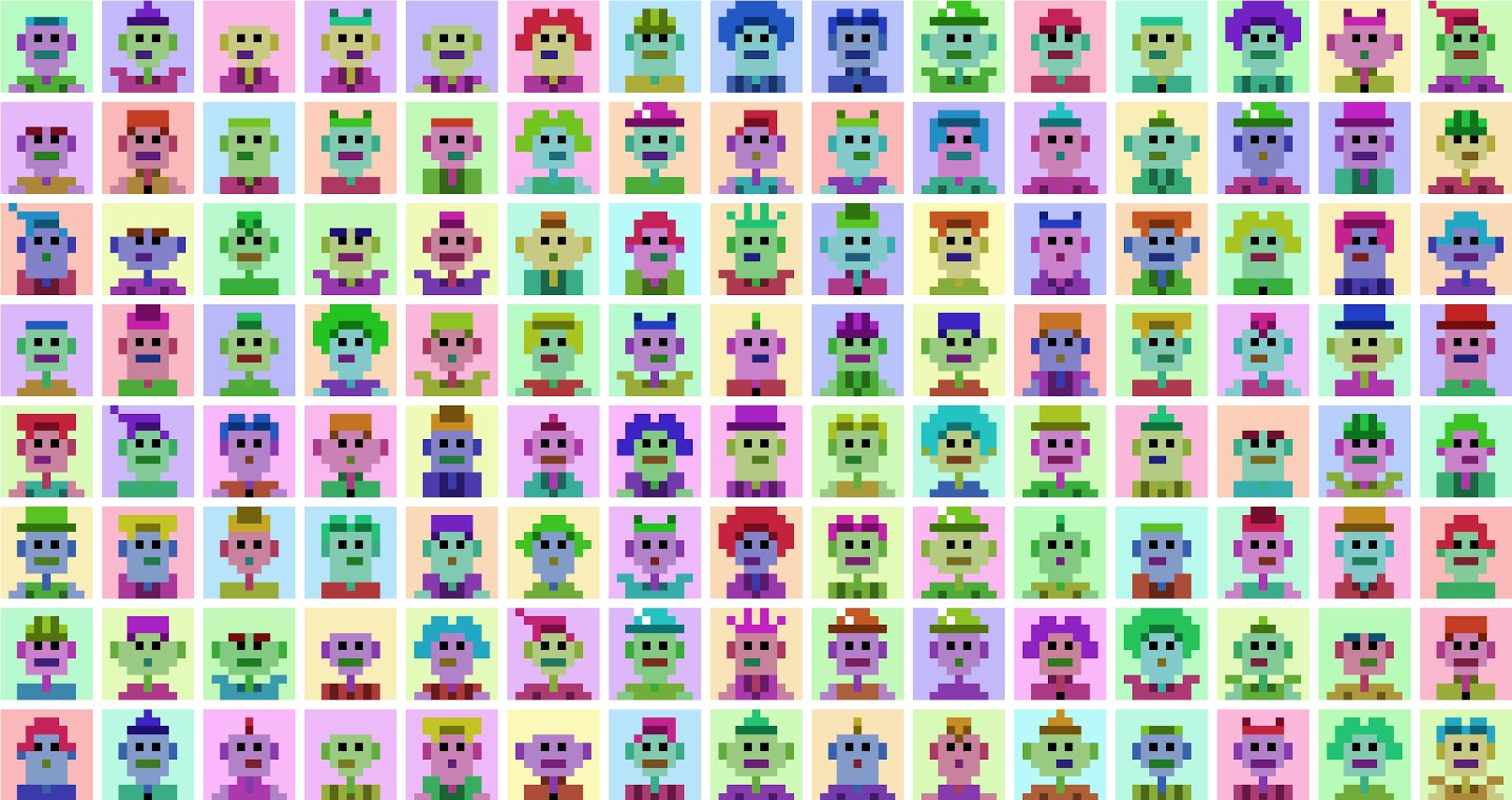 Decorative image of pixel avatars set in multiple columns and rows.