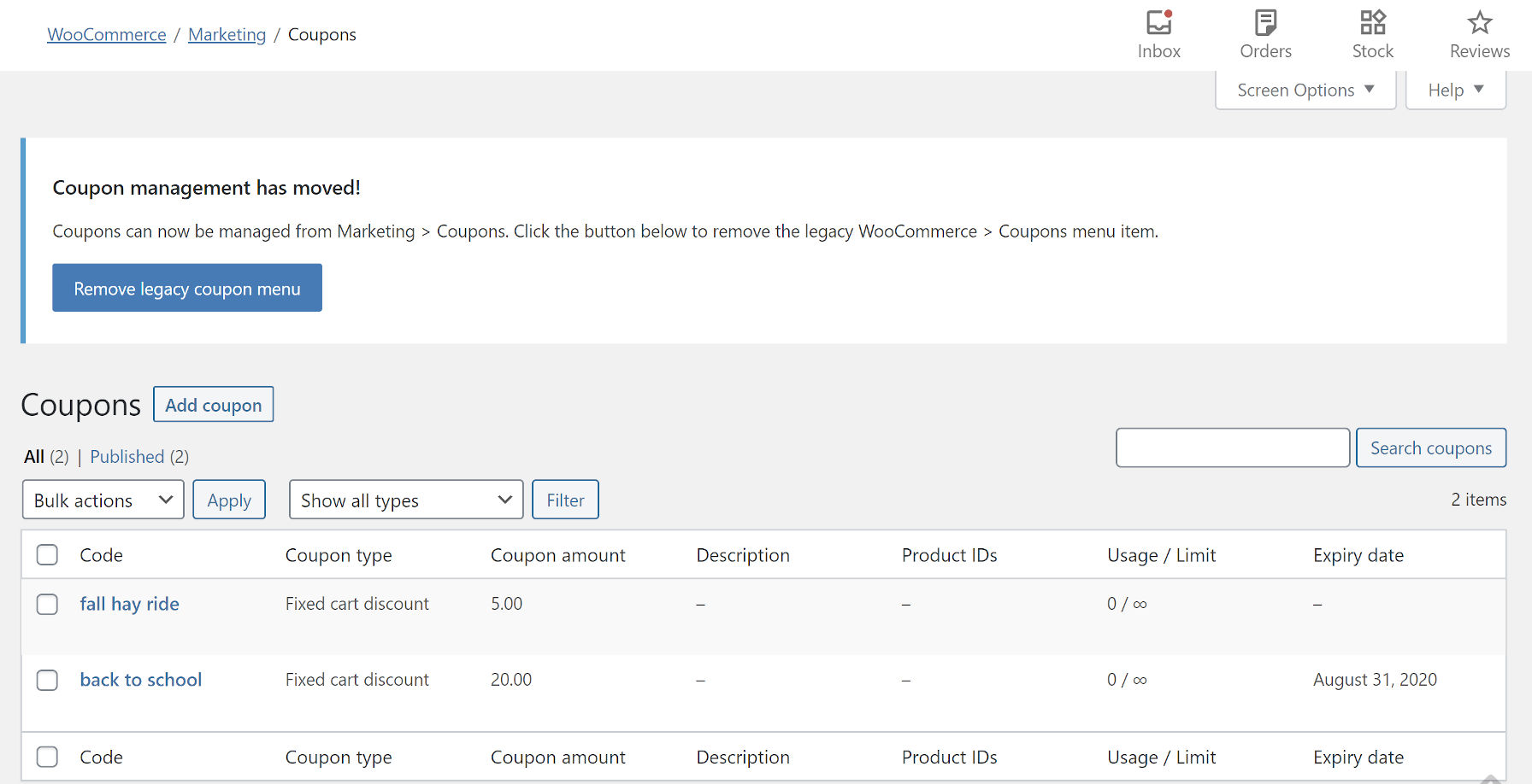 WooCommerce coupon management screen.