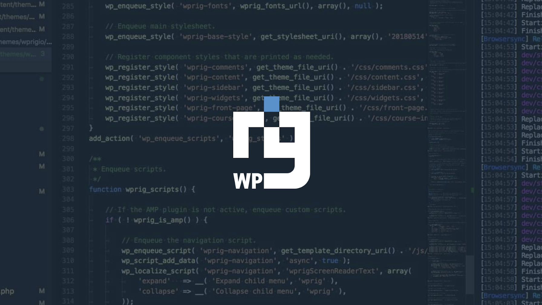 Decorative image of the WP Rig logo with a code editor in the background.