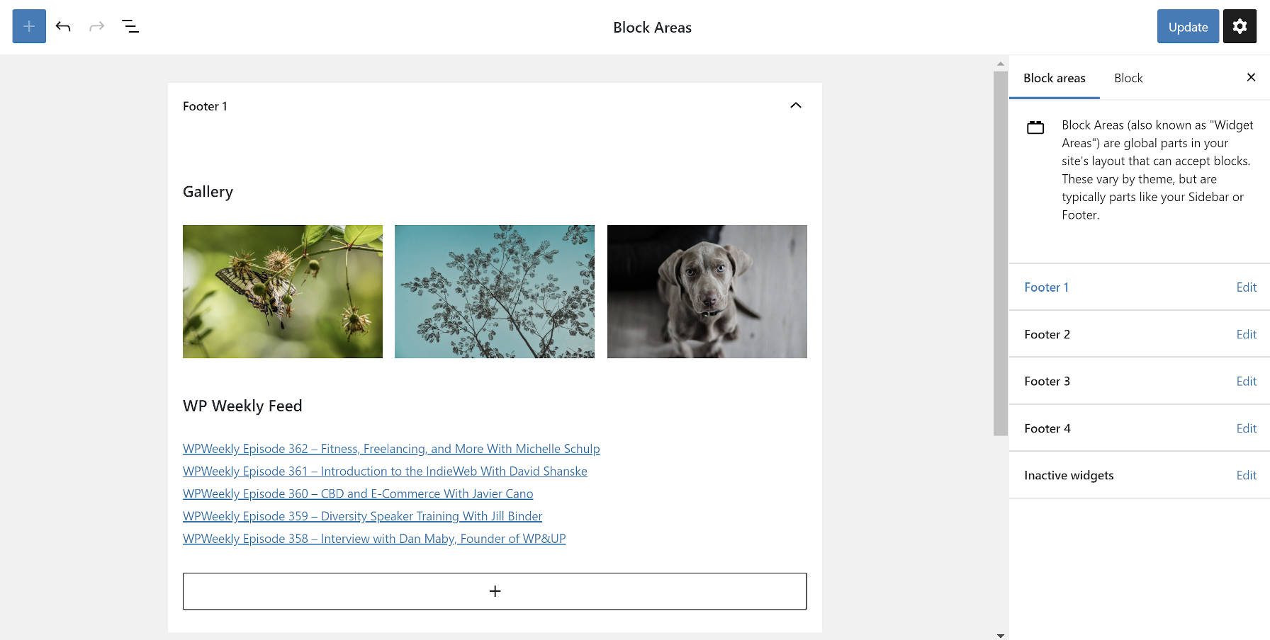 New block-based widgets screen in Gutenberg 8.9.