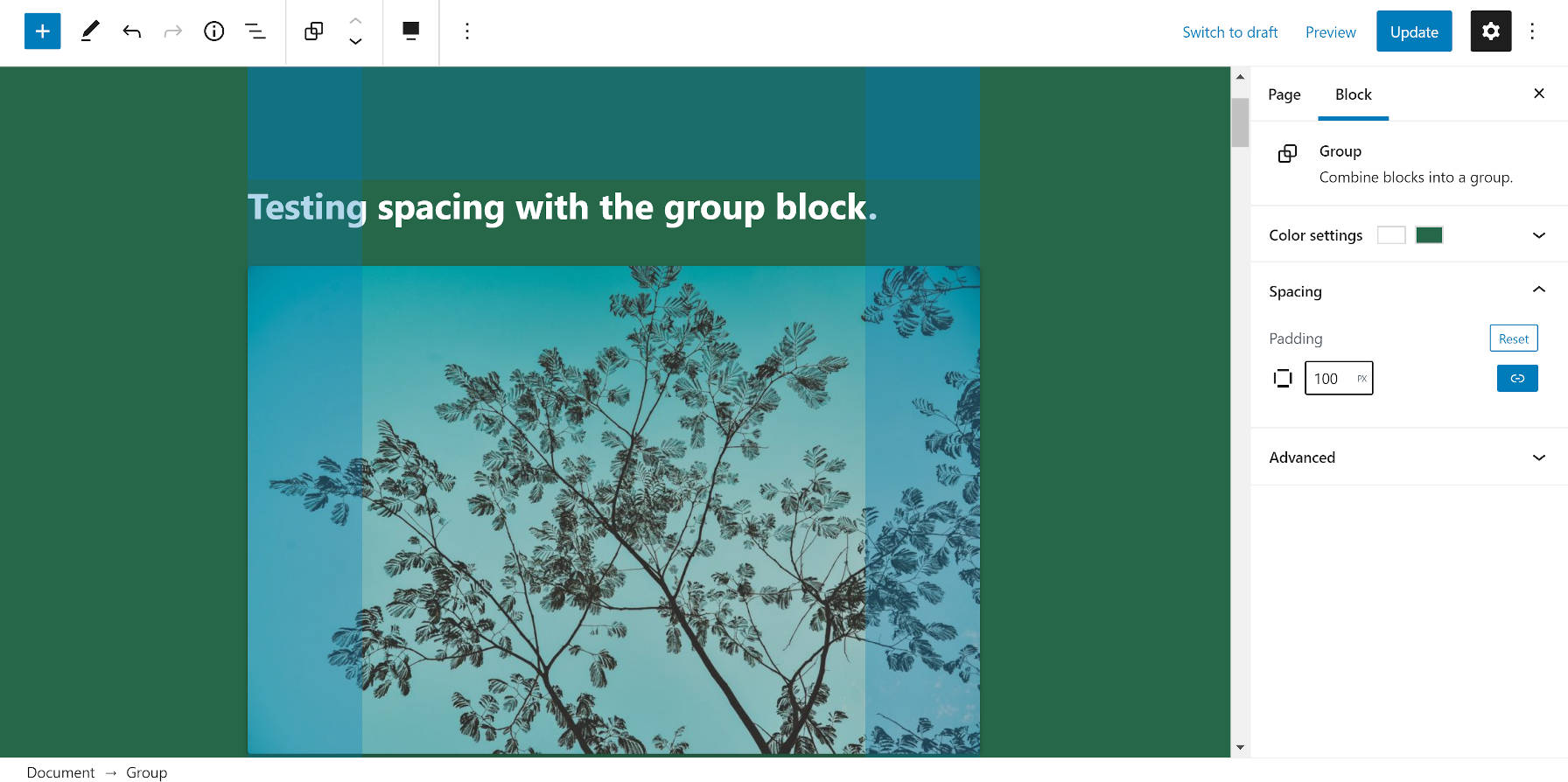 Using the padding control for the Group block in the WordPress editor.