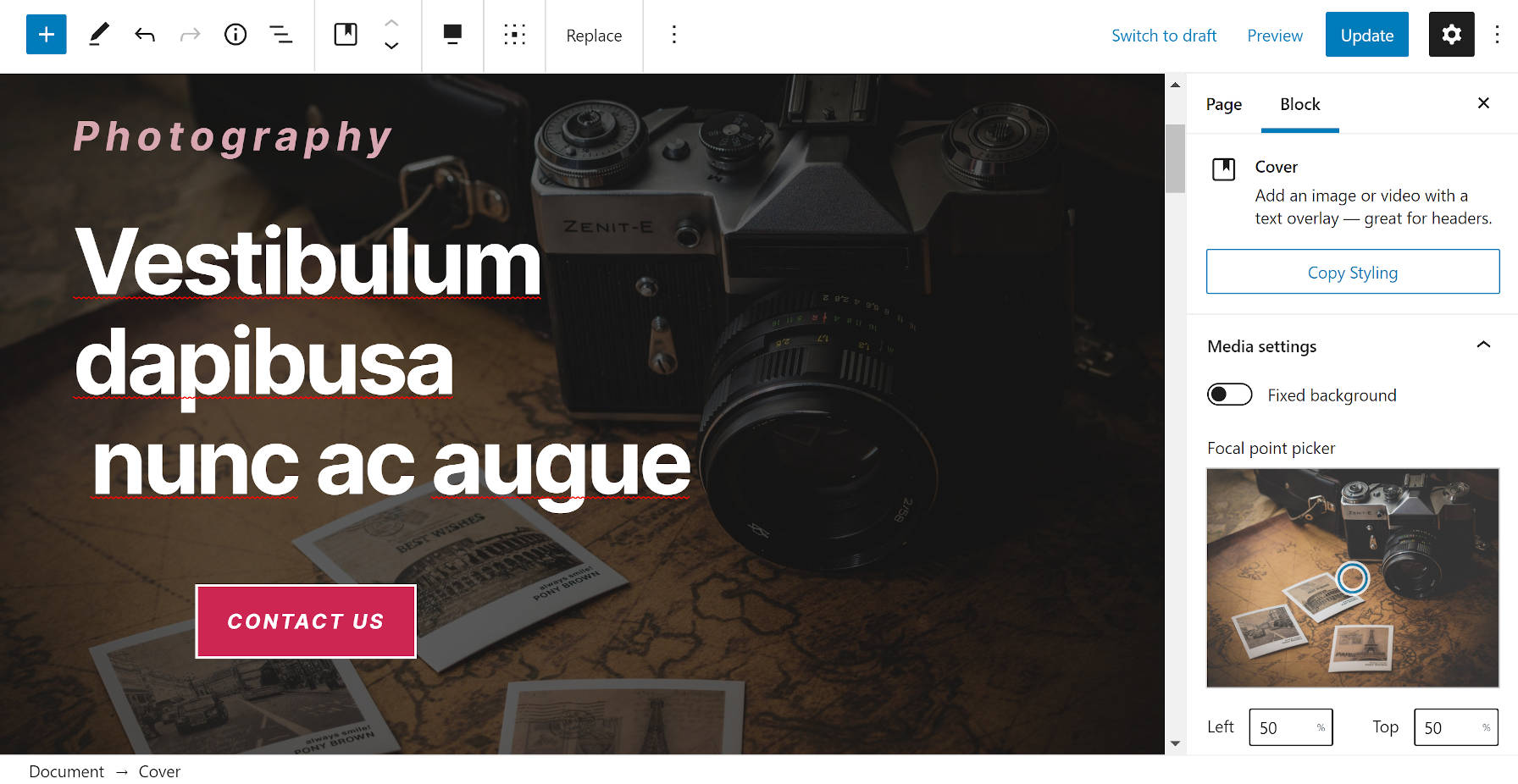 Photography template from Gutenberg Hub in the block editor.