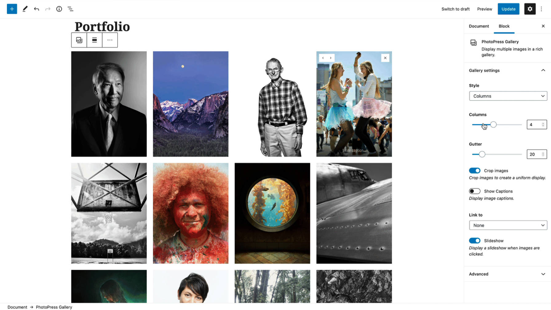 PhotoPress Gallery block in the WordPress editor.
