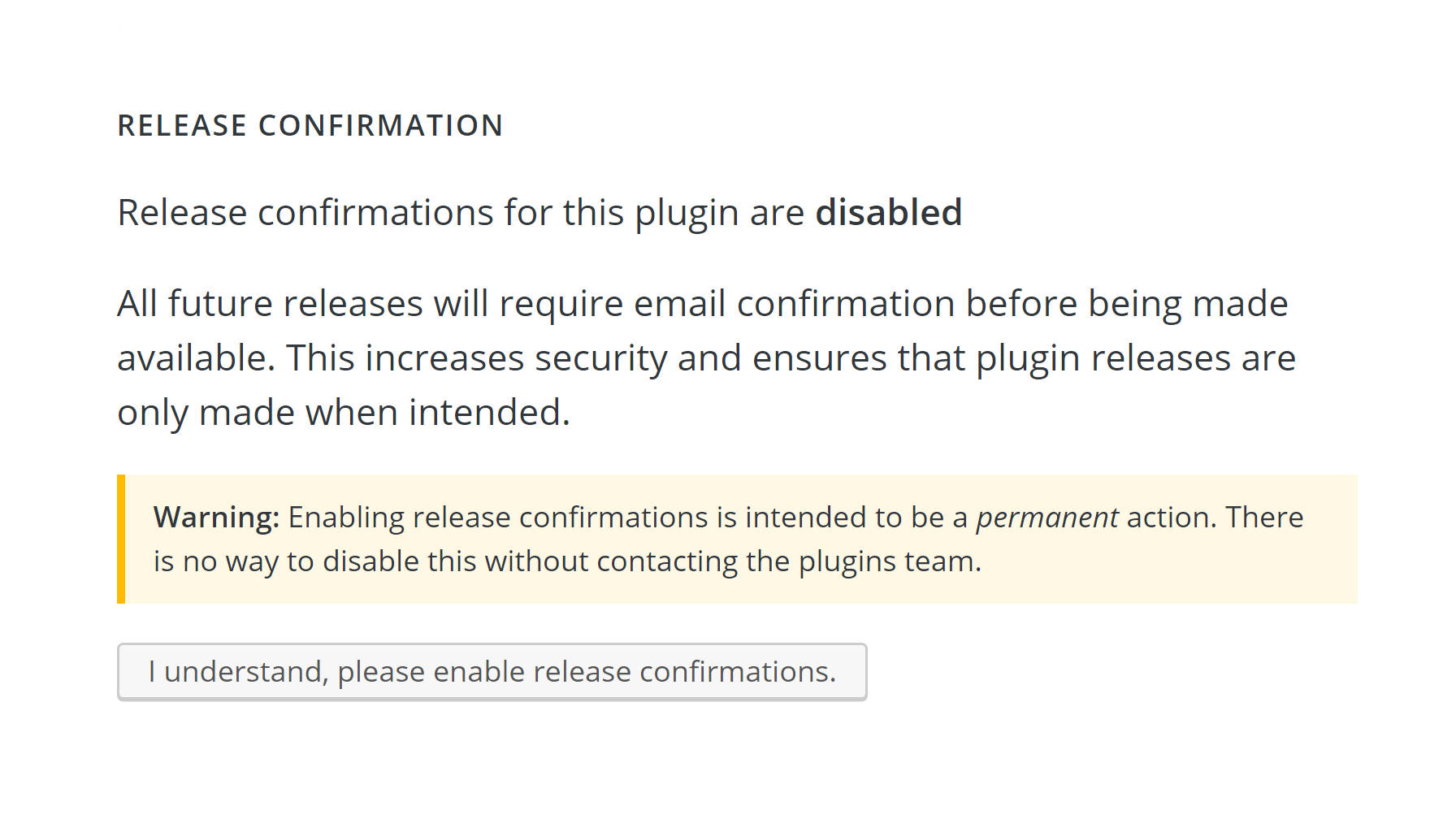 Screenshot of the plugin release confirmation email form.