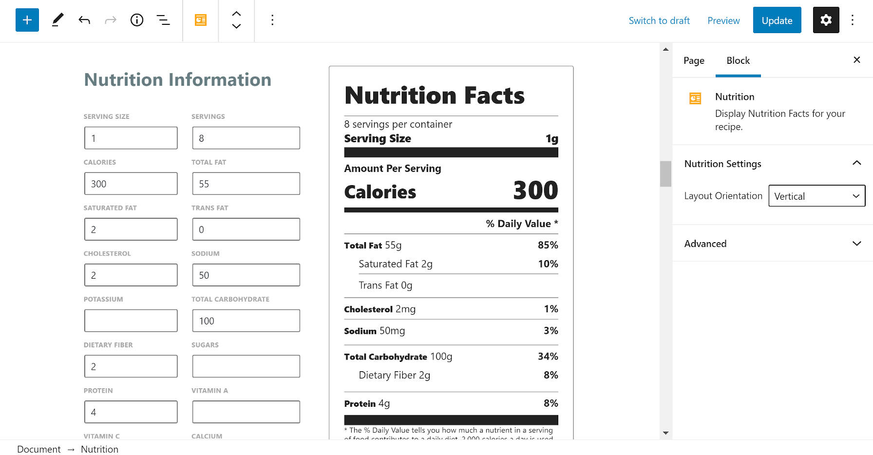 Nutrition information block from the Recipe Card Blocks plugin.