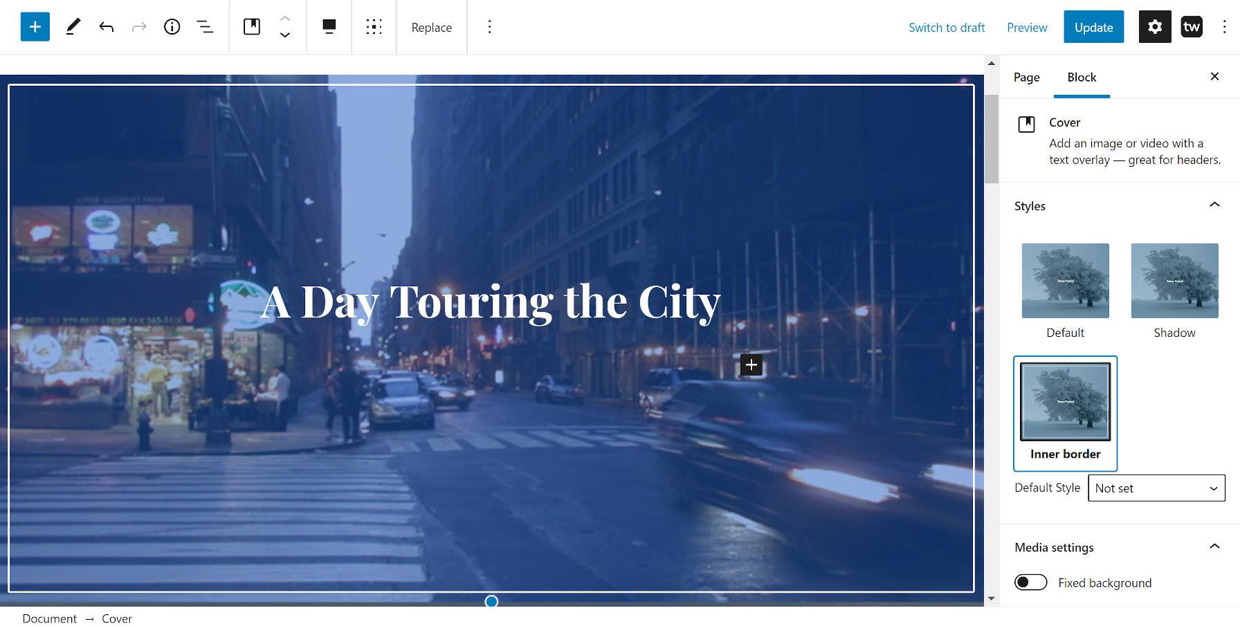 Custom inner border style from the Twentig WordPress plugin on the Cover block.