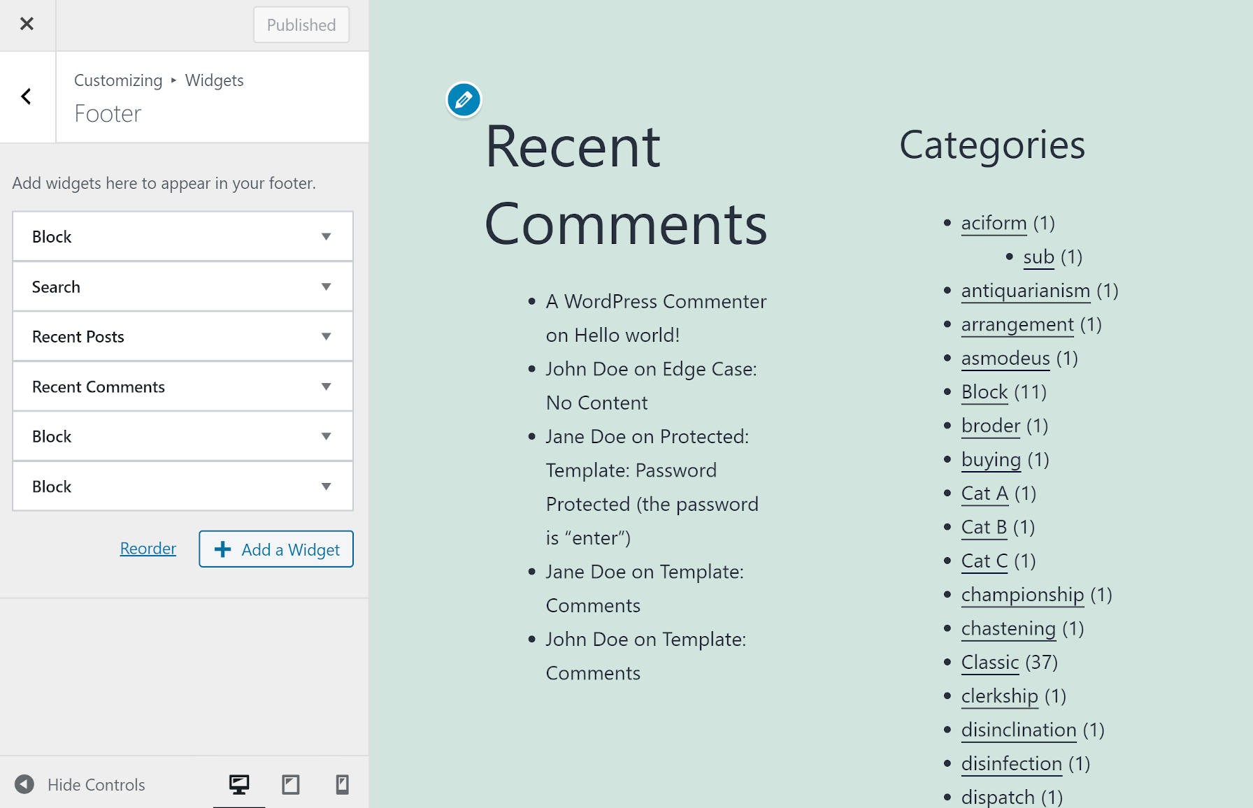 Widgets panel in the WordPress customizer.