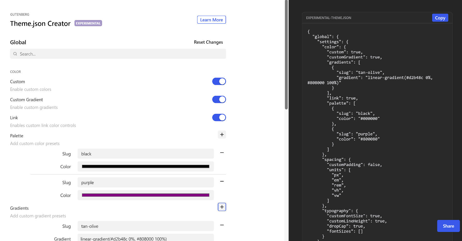 Screenshot of the Theme.json Creator web page.