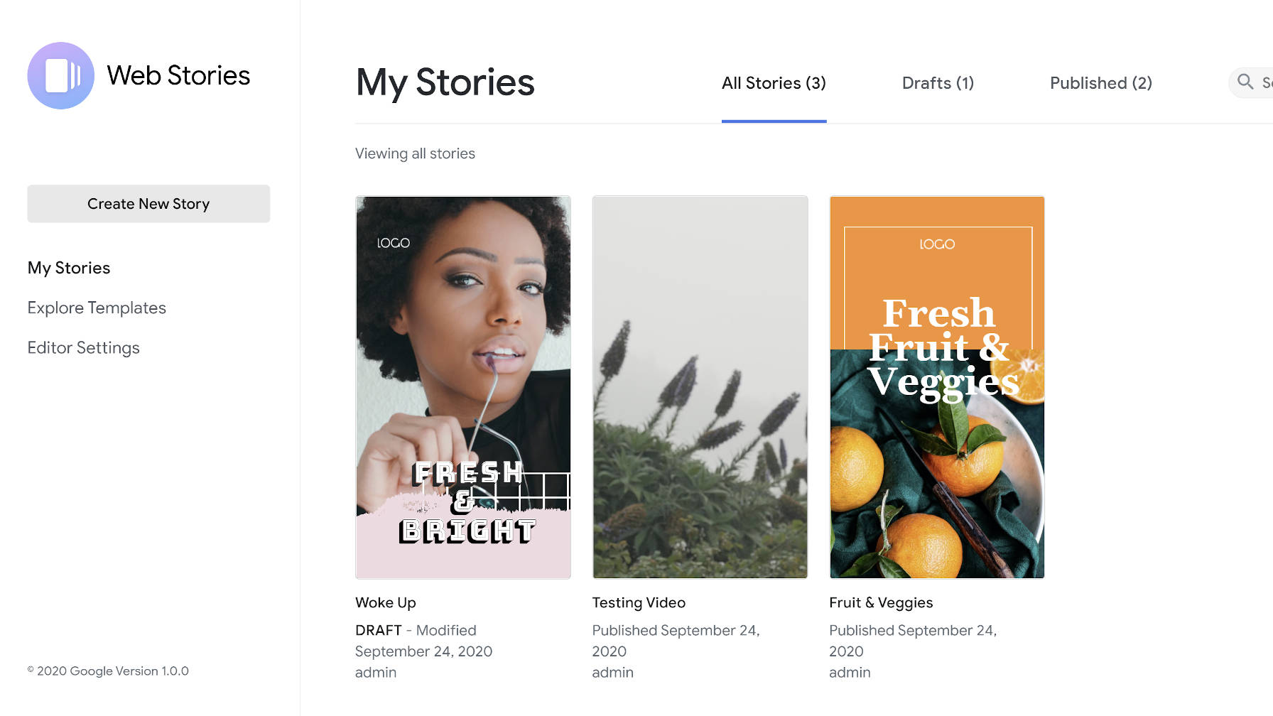 Web Stories for WordPress plugin's dashboard.