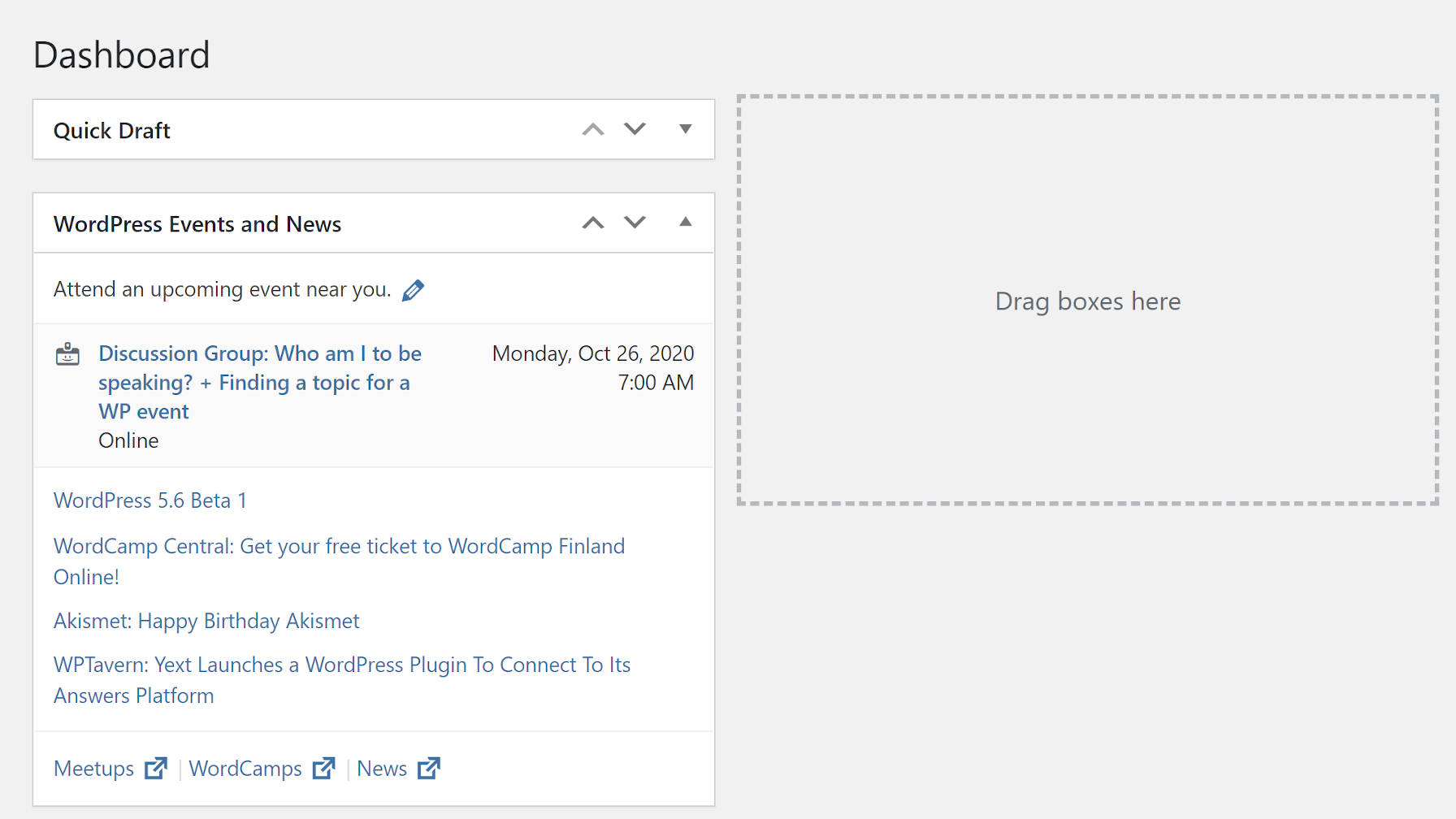 WordPress Dashboard admin screen with visible meta box holder.