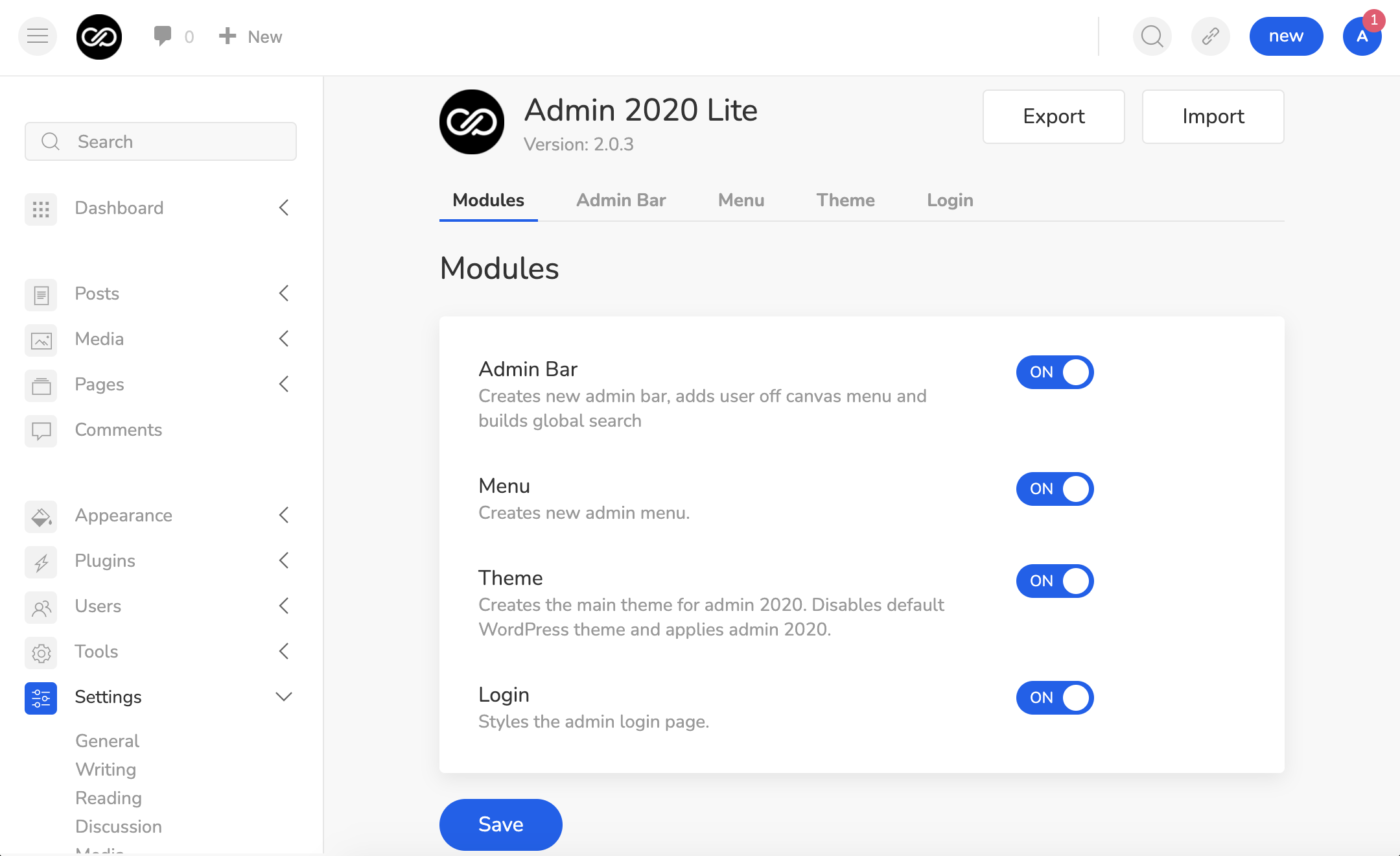 , Admin 2020 Version 2 Introduces New Lite Version, Better Plugin Compatibility, and Modular Architecture