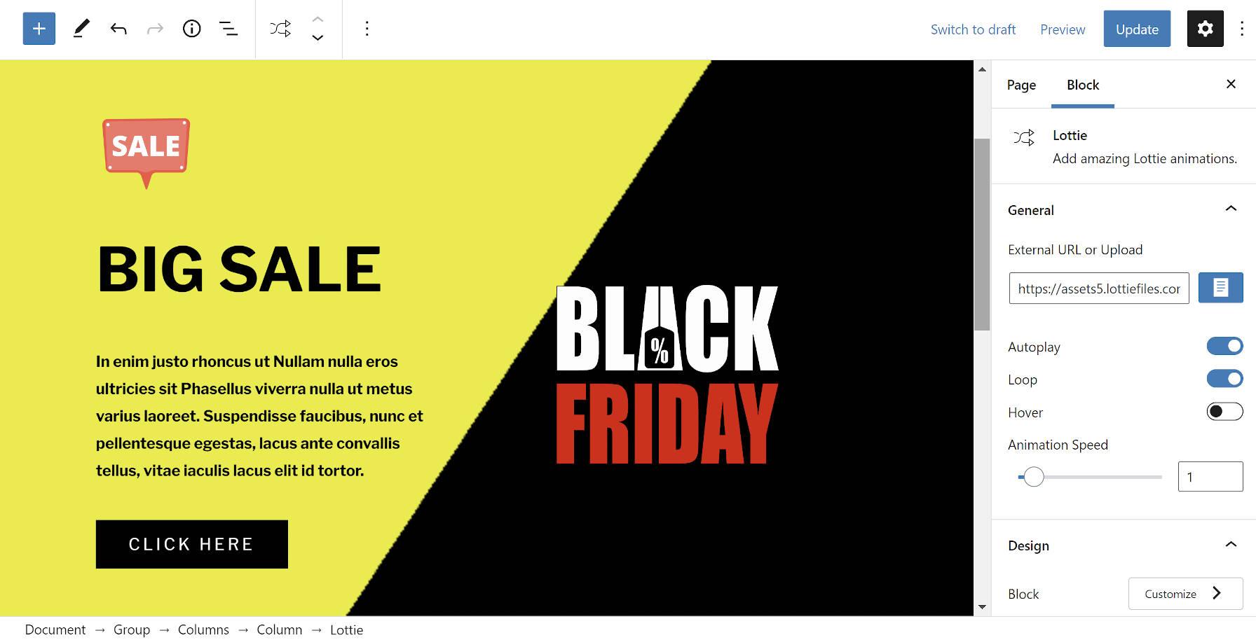 Screenshot of a Black Friday Lottie animation block pattern from Gutenberg Hub.