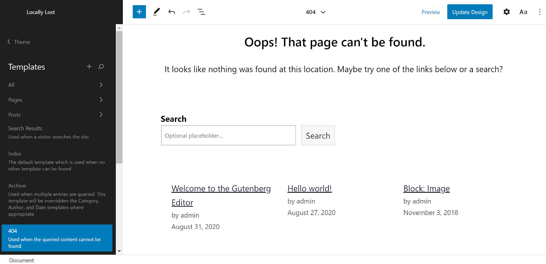 404 template from the WordPress site editor when using the Armando theme.
