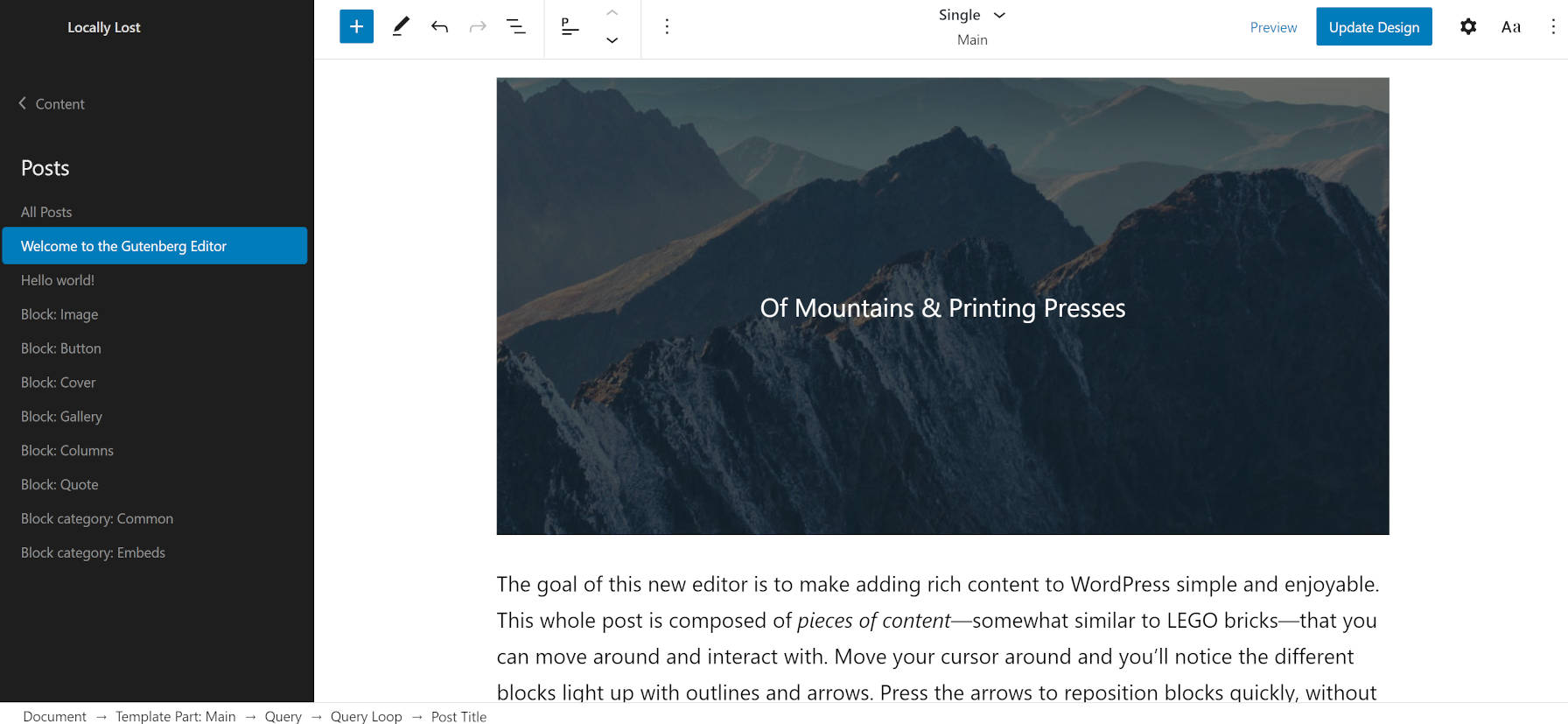 Single post view in the site editor of the Armando WordPress theme.
