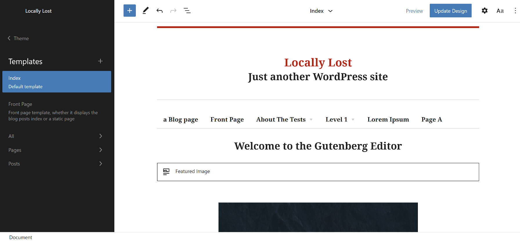 Block-Based Bosco WordPress theme in the Gutenberg site editor.