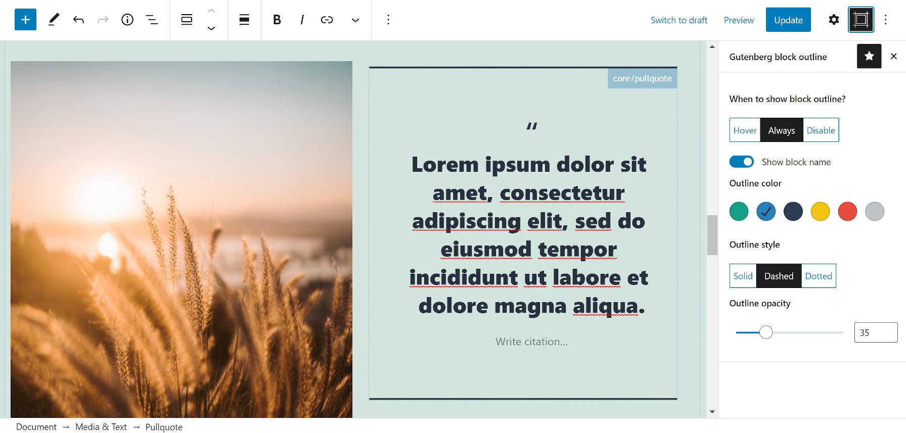 Editor Block Outline plugin in the block editor sidebar.