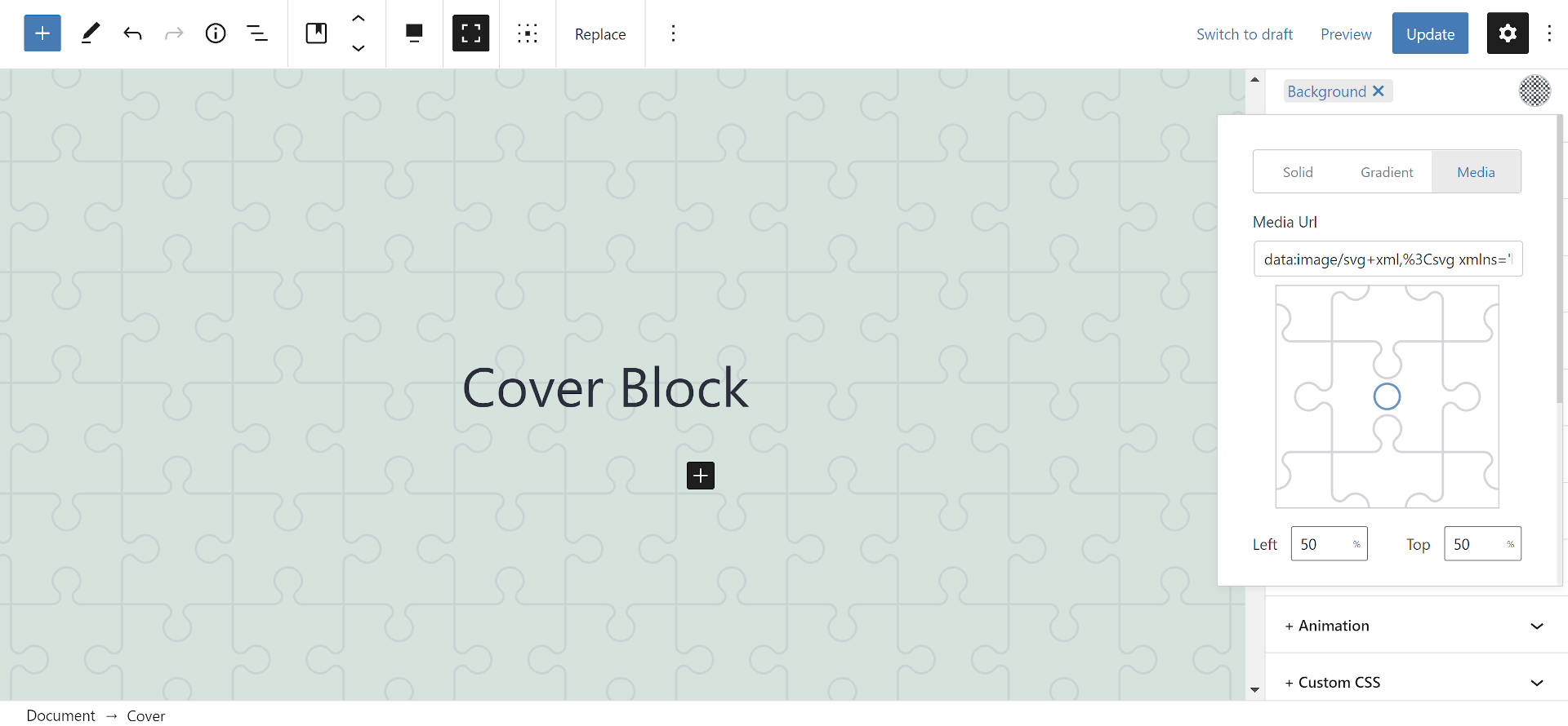 SVG background image on the Cover block in the WordPress editor.