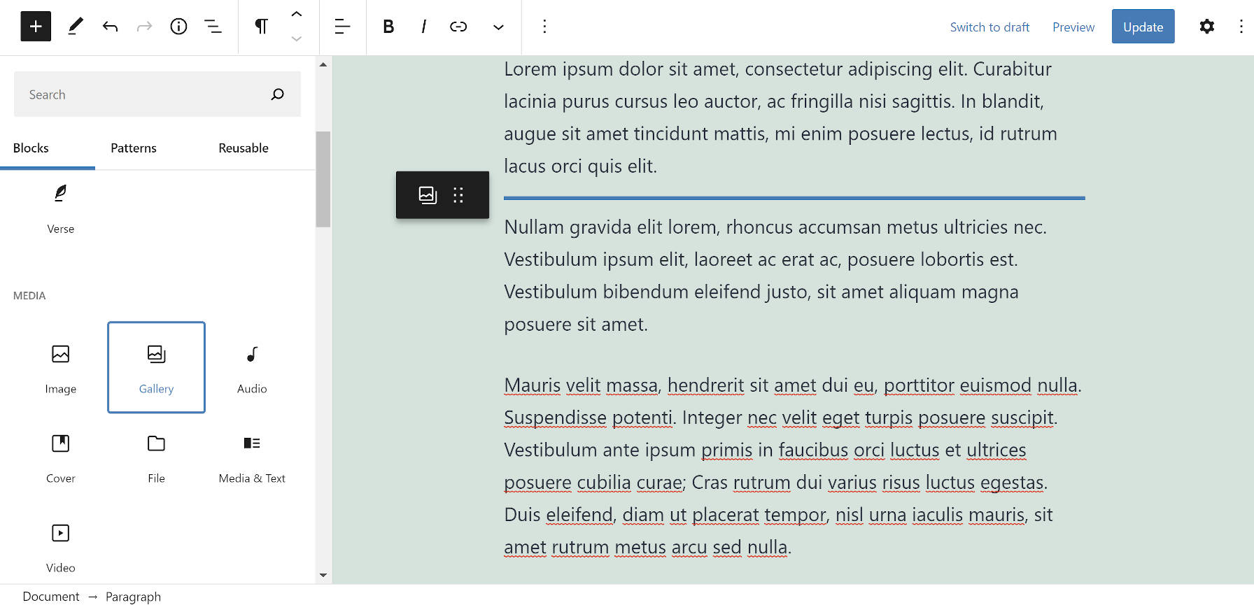 Dragging a Gallery block into the content canvas in the WordPress block editor.