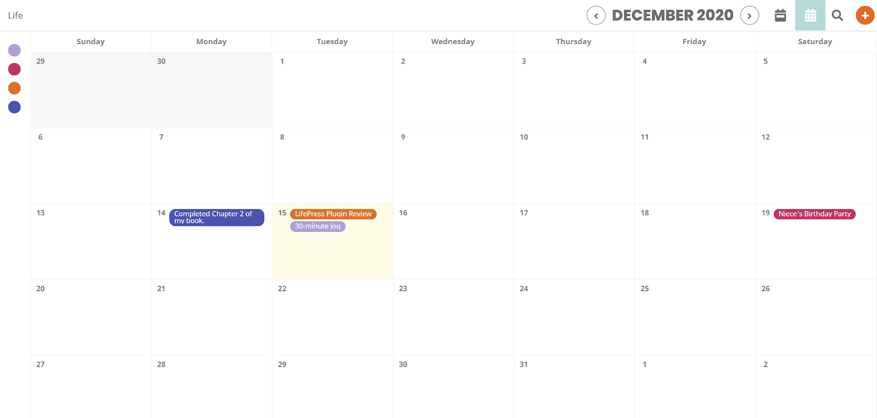 Monthly calendar view of the LifePress Dashboard on the front end.