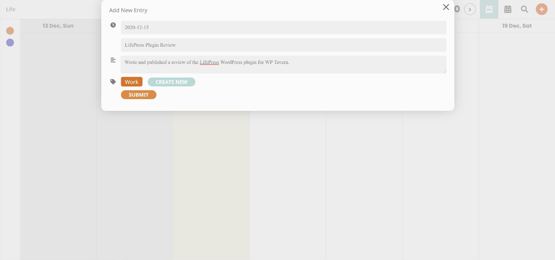 Adding a new calendar entry with the LifePress WordPress plugin.