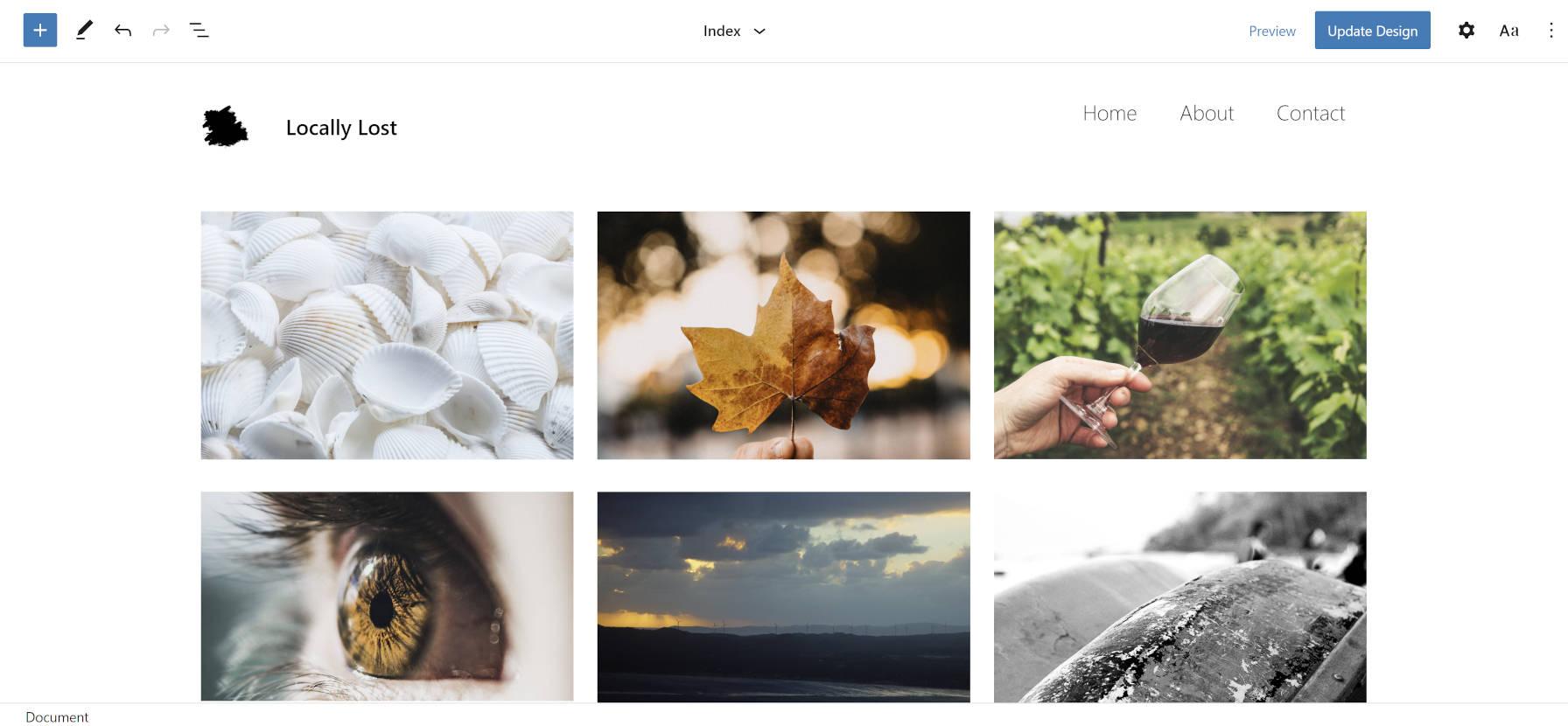 Photo Blocks theme in the site editor.