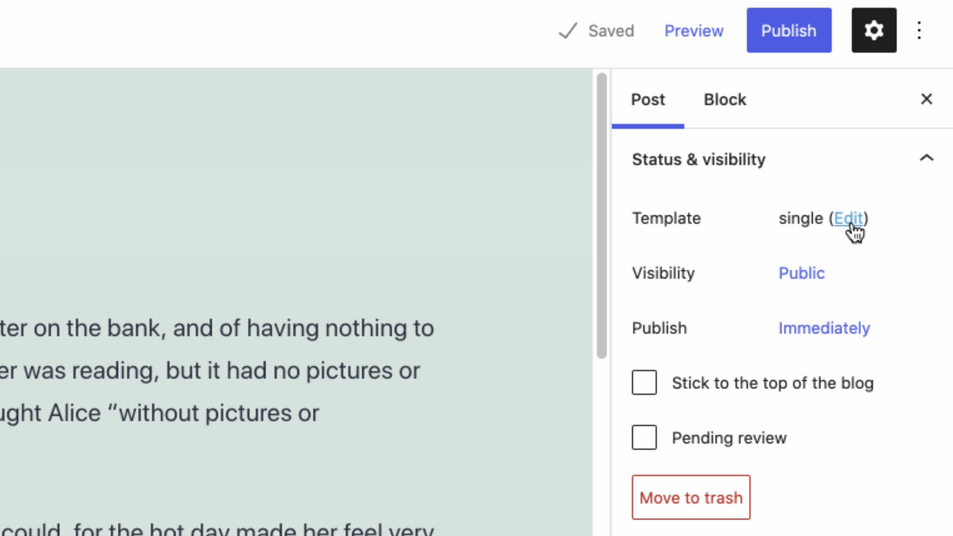 """Template"" editing option in the WordPress post editor."
