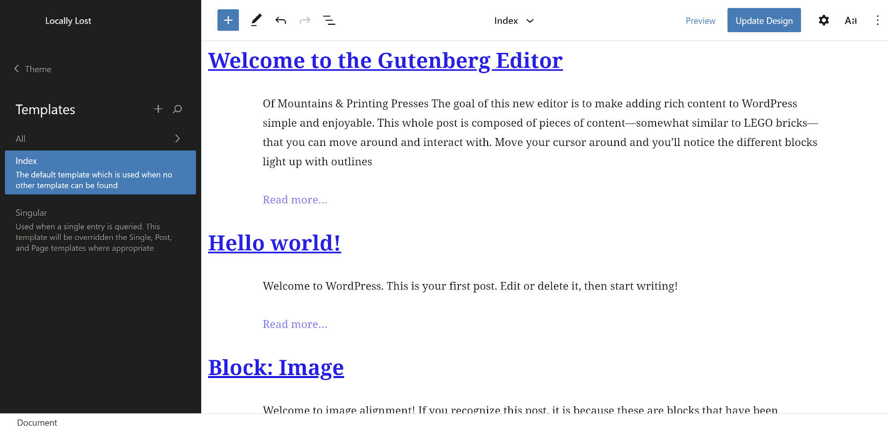 Generated empty theme in the Site Editor feature in the Gutenberg WordPress plugin.