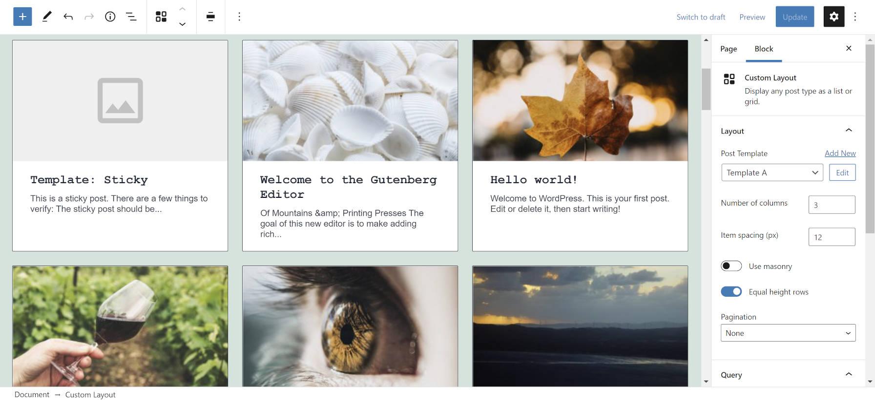 Bloquez les mises en page personnalisées dans l'éditeur WordPress.