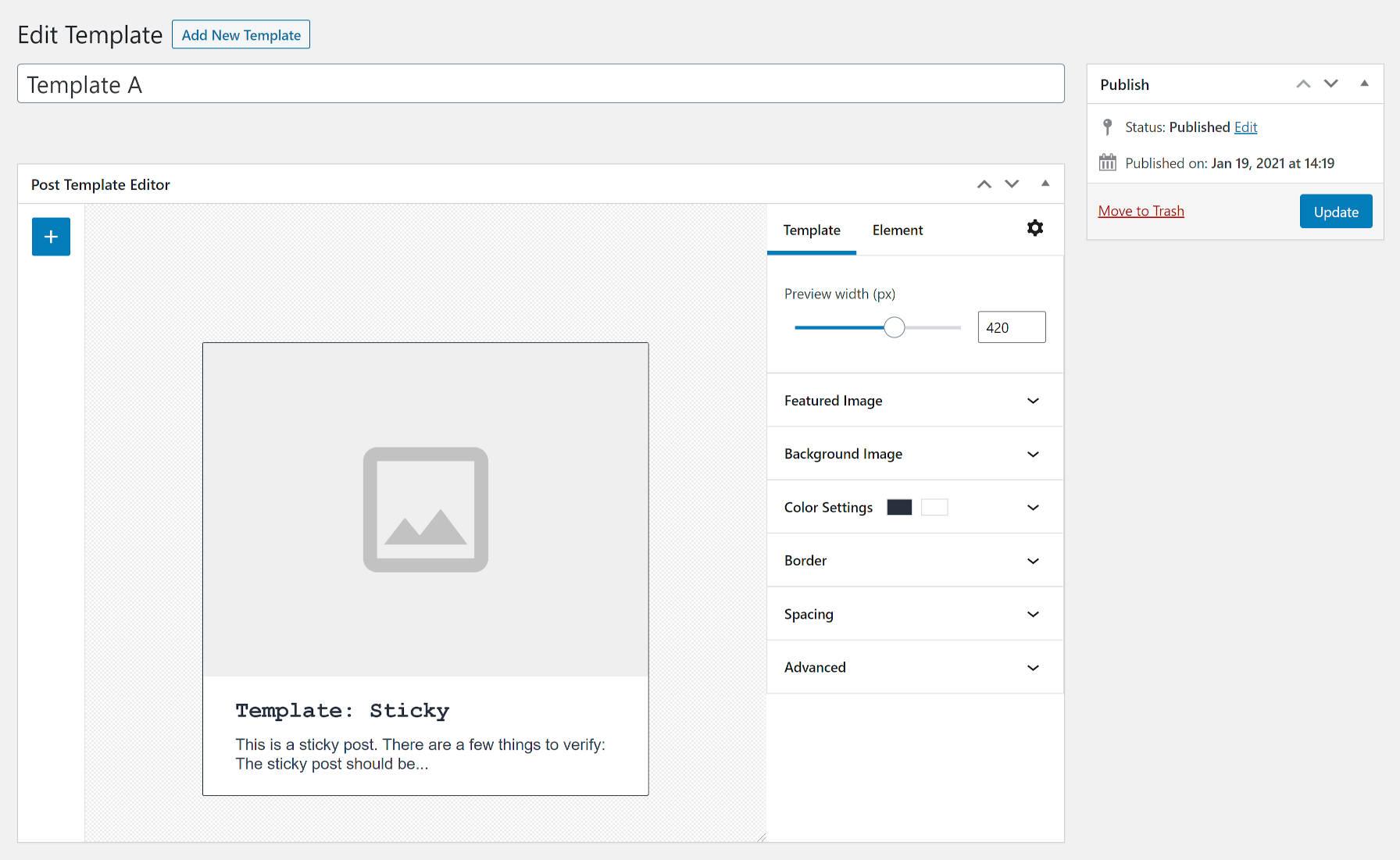 Écran d'édition de modèle à partir du plugin de mise en page personnalisée WordPress.