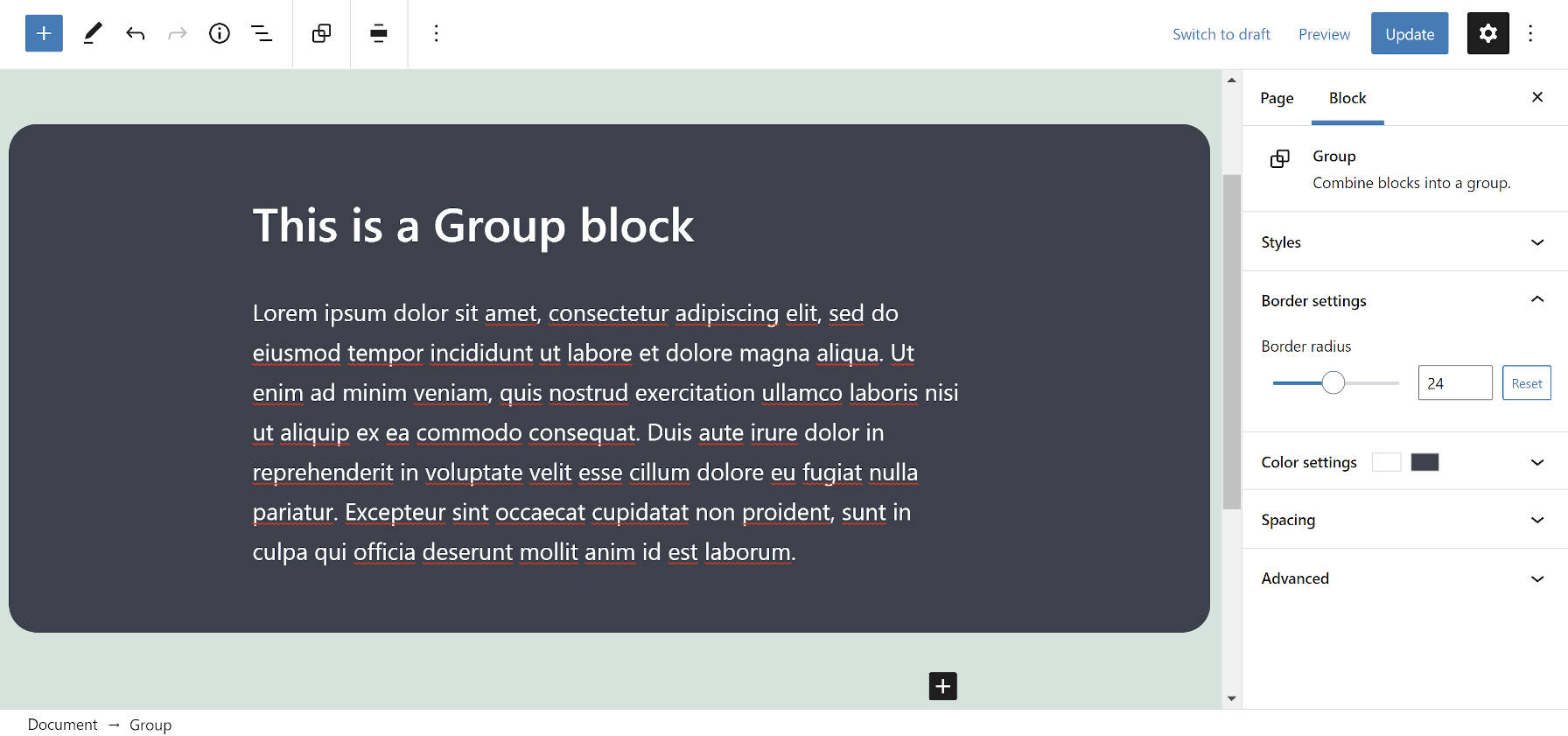 Group block in the editor with rounded borders.