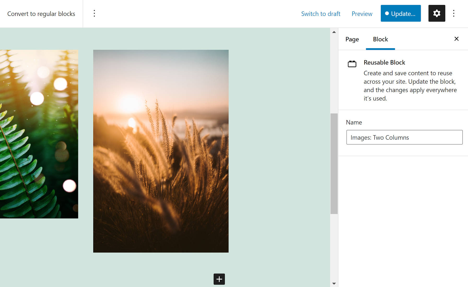 Editing the name of a reusable block in the WordPress editor.