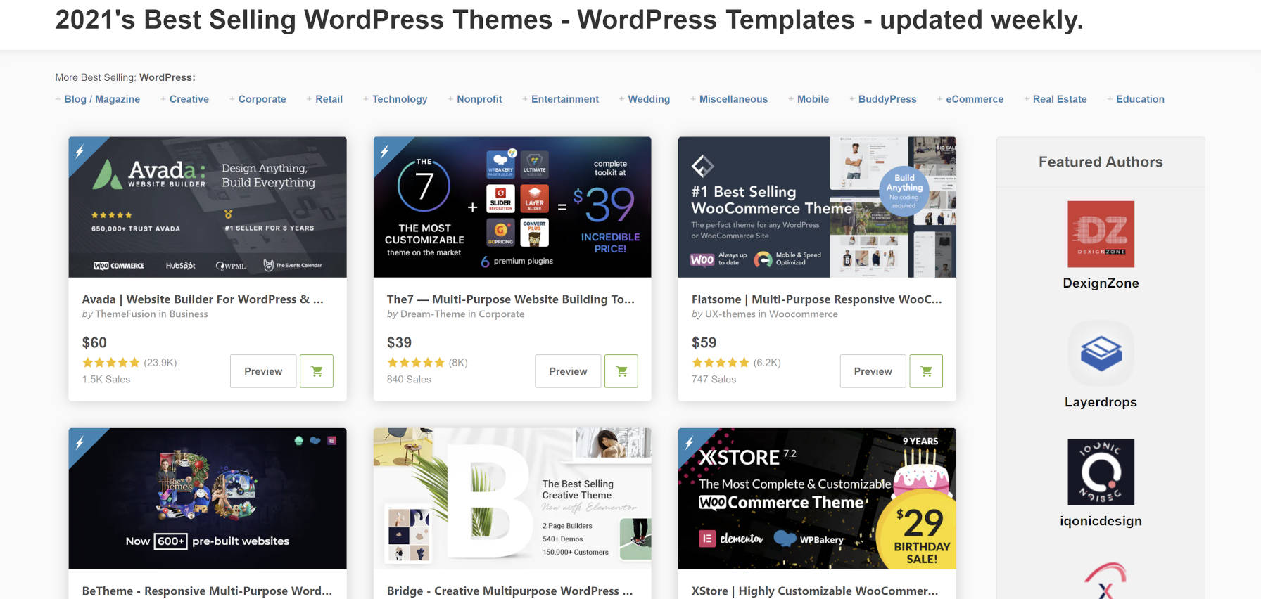 Screenshot of the Themeforest WordPress themes page.