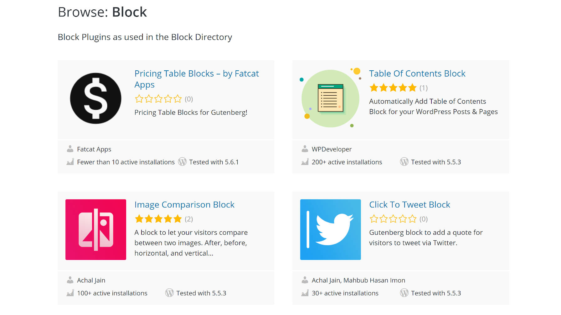 Screenshot of the WordPress.org block directory.