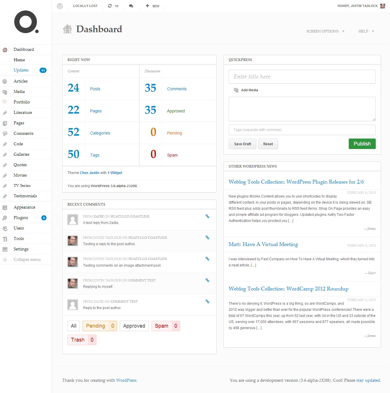 Dashboard screen in WordPress with the DP Dashboard plugin installed.
