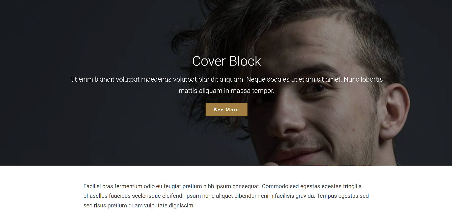 Cover block output on the front end by the Empt Lite WordPress theme.