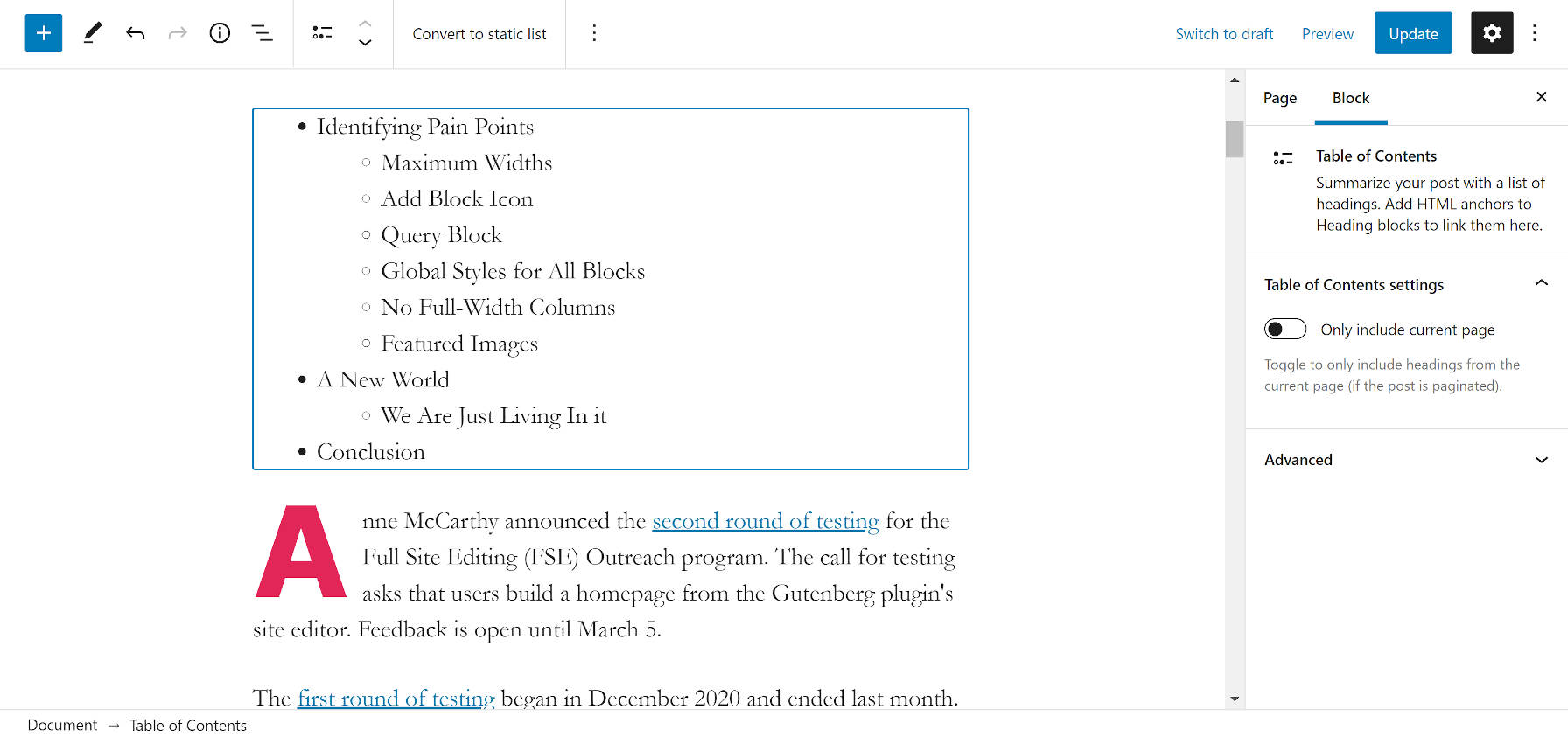 TOC block automatically filling out as new headings are added to the post content in the editor.