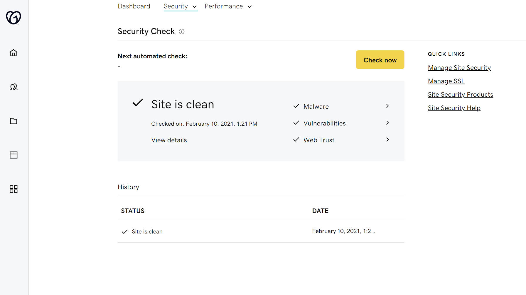 Site security check with the Hub by GoDaddy Pro.