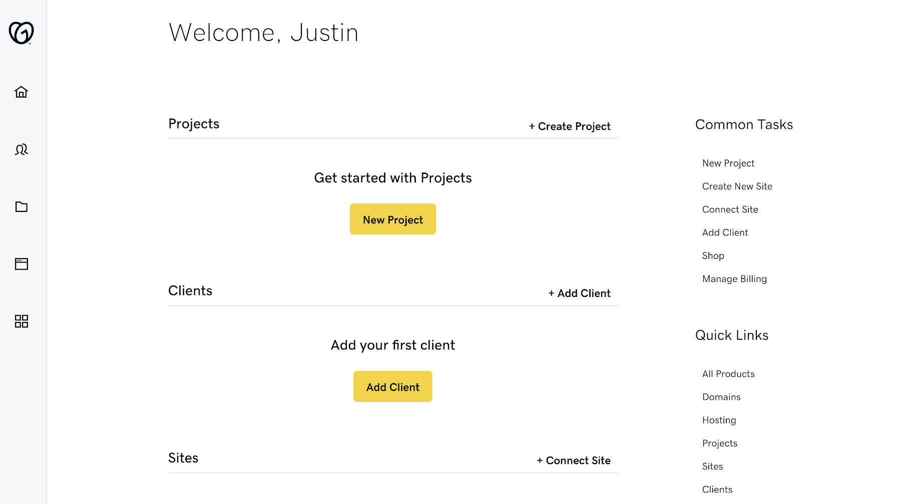 The Hub home screen from GoDaddy Pro.