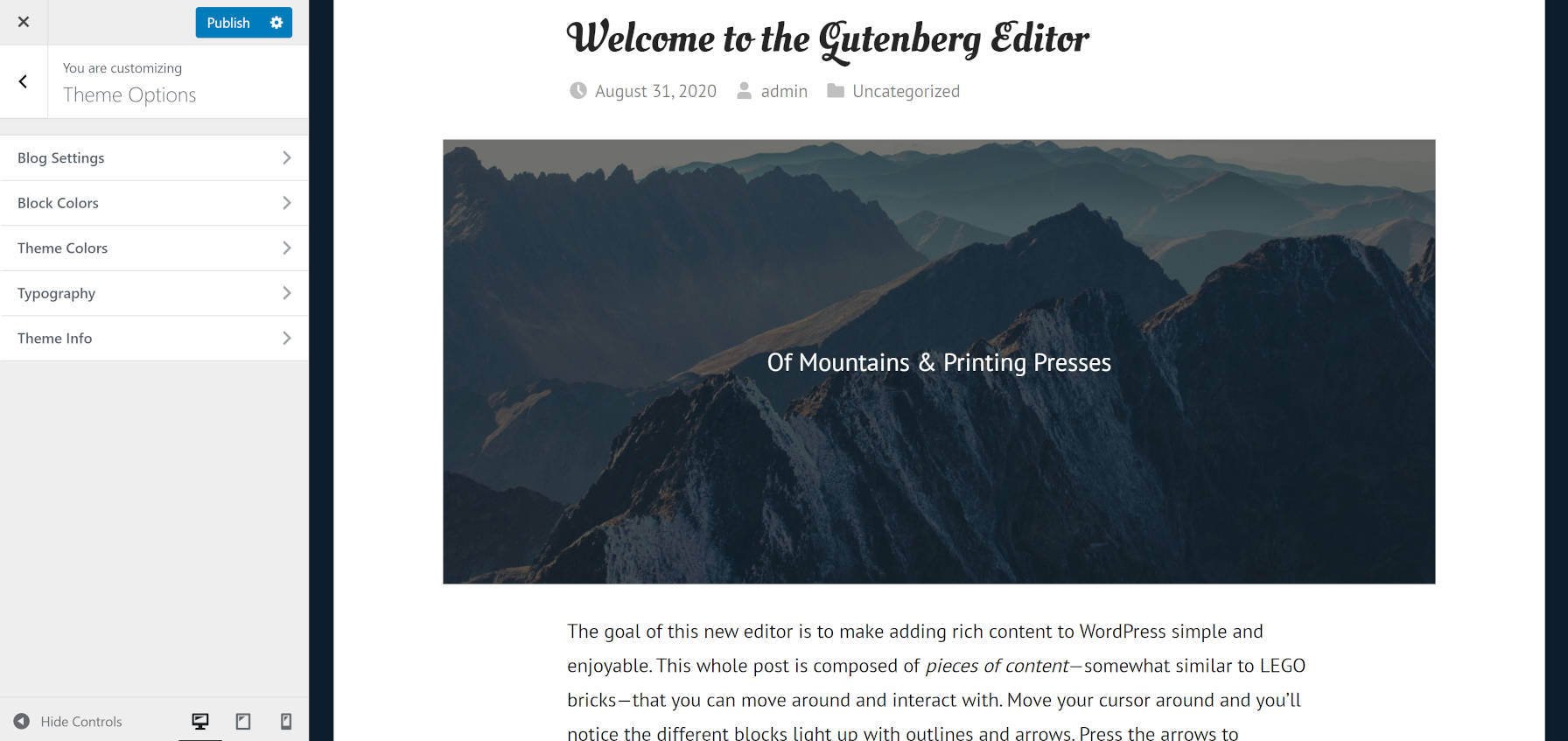 Typography and color customizations of the GT Basic WordPress theme via the customizer.