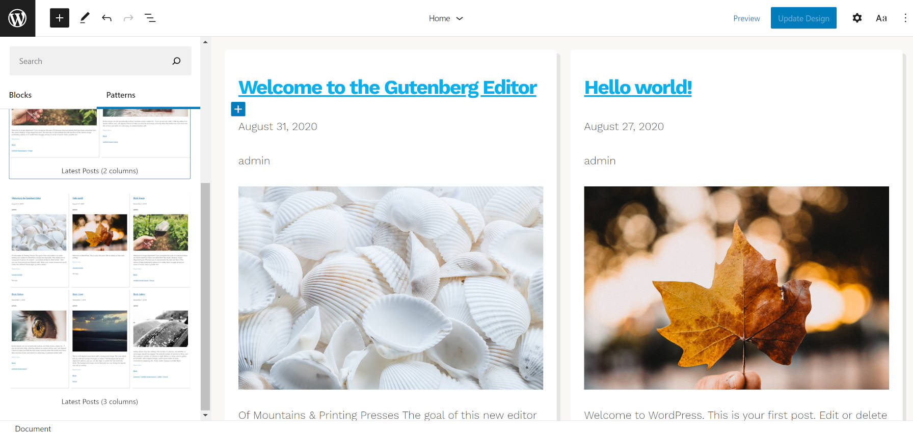 Blog posts patterns included in the Hansen WordPress theme.