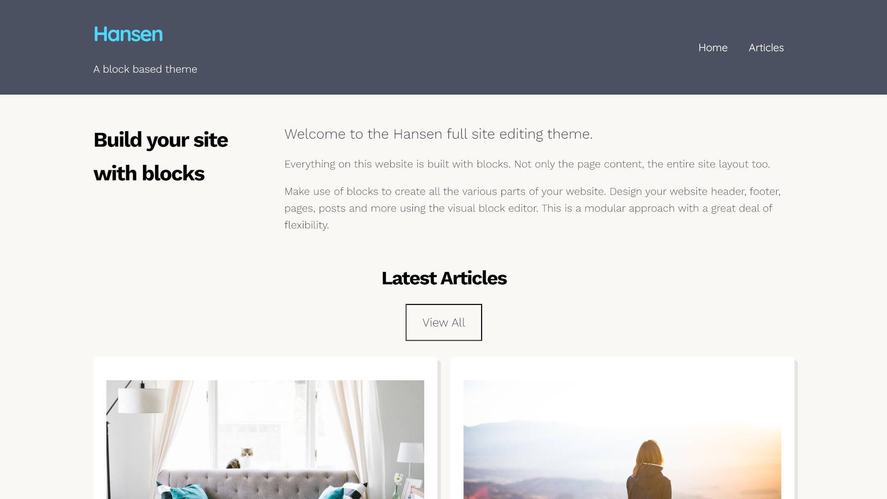 Front page output of the Hansen WordPress theme.
