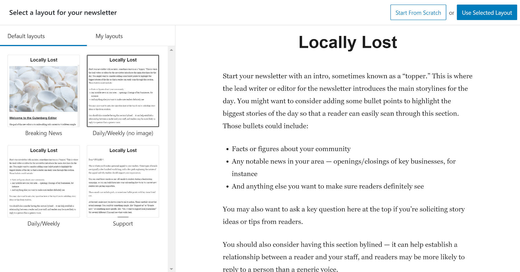 Selecting a layout from the Newspack Newsletters add new screen.