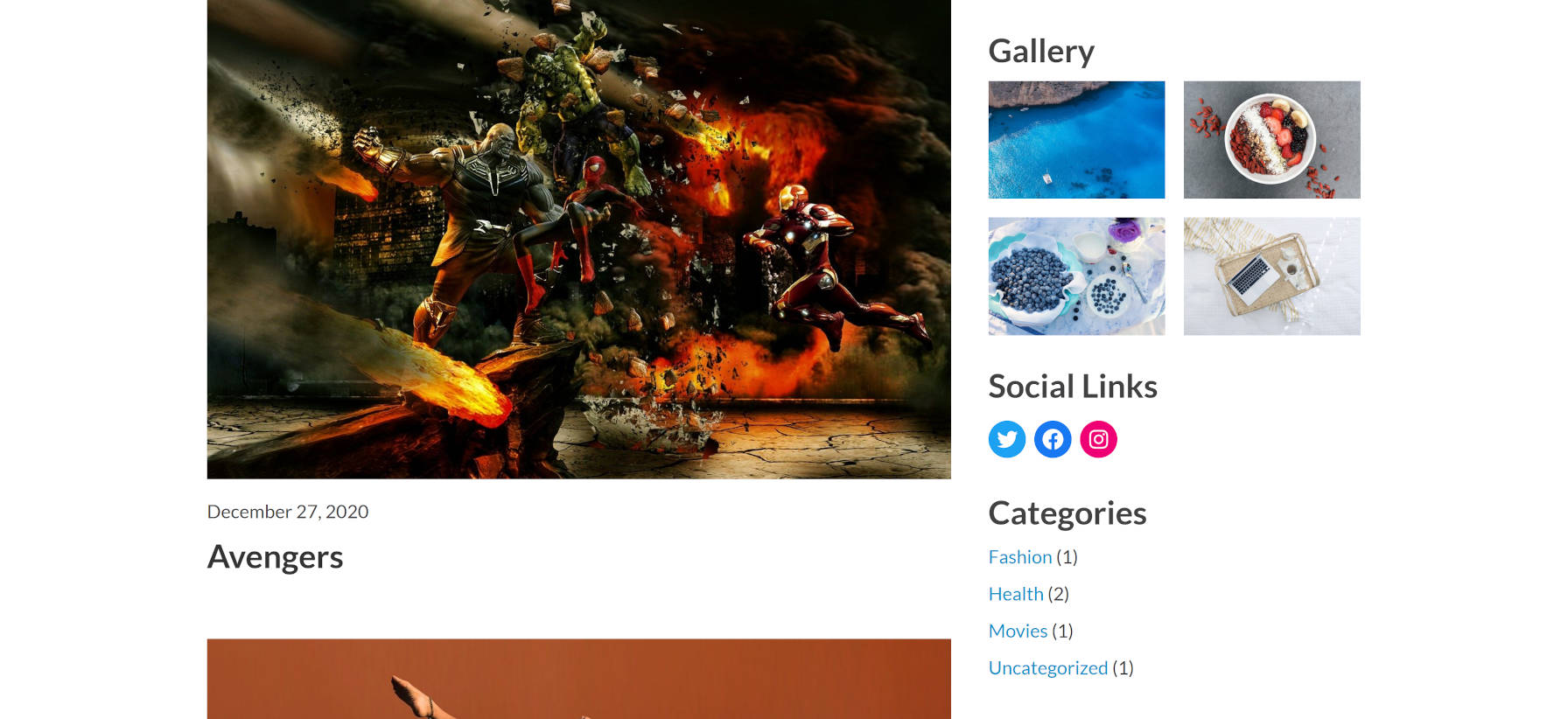 Content area next to sidebar in the Phoenix WordPress theme.