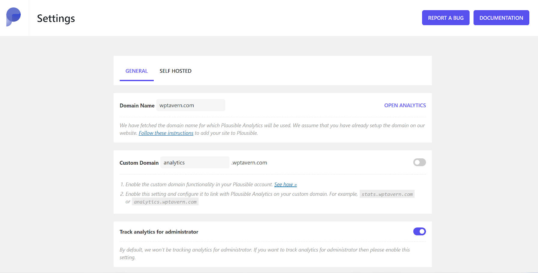 Plausible Analytics WordPress plugin settings screen.