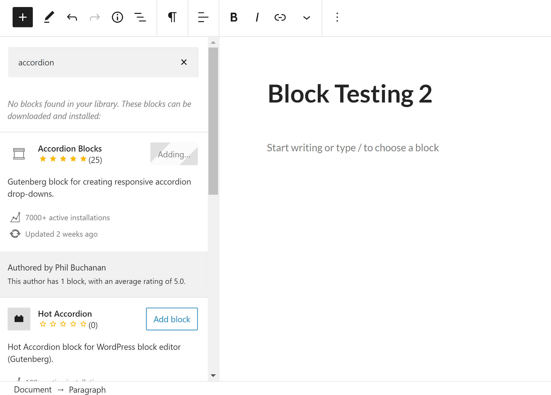 Searching for and installing a single-use block directly from the WordPress editor.