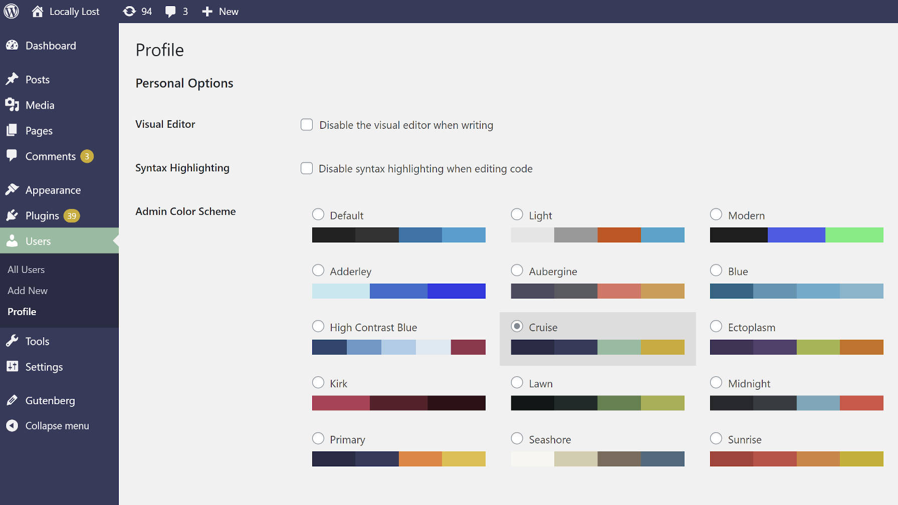 Using the Cruise color scheme from the Admin Color Schemes WordPress plugin.