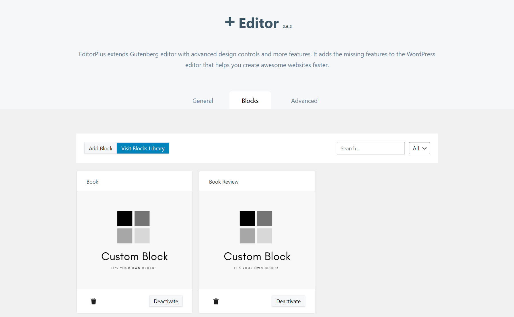 Editor Plus custom block feature in version 2.6.2.